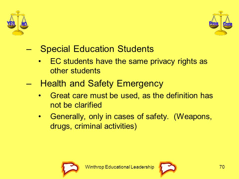 Winthrop Educational Leadership70 –Special Education Students EC students have the same privacy rights as other students –Health and Safety Emergency