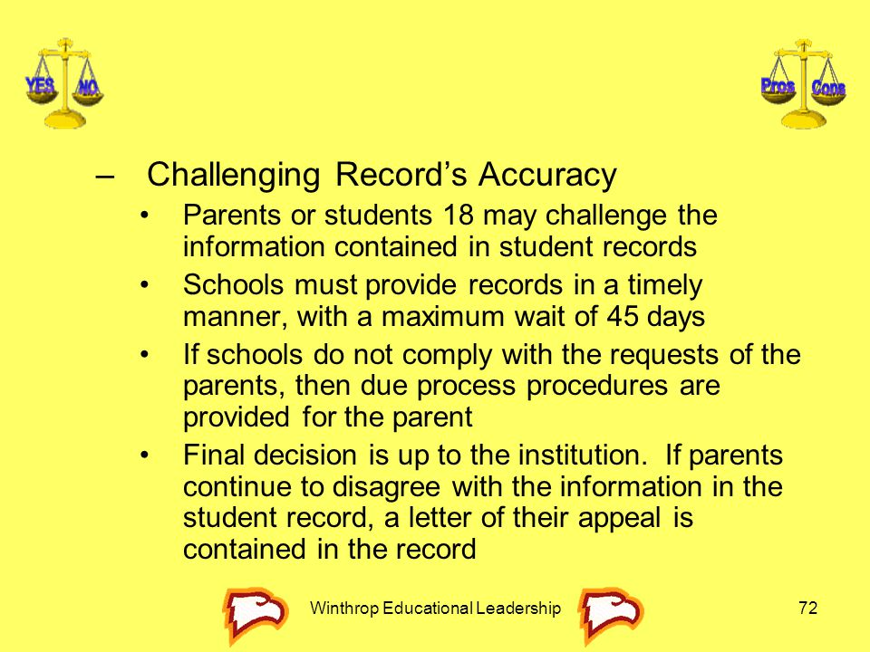 Winthrop Educational Leadership72 –Challenging Record's Accuracy Parents or students 18 may challenge the information contained in student records Sch