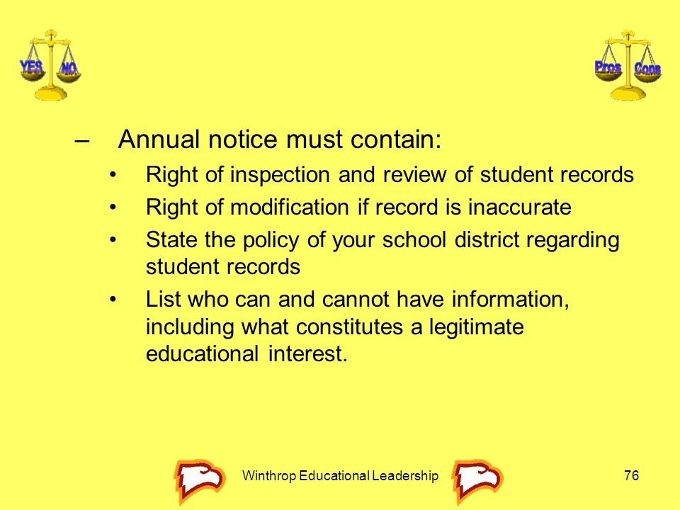 Winthrop Educational Leadership76 –Annual notice must contain: Right of inspection and review of student records Right of modification if record is in