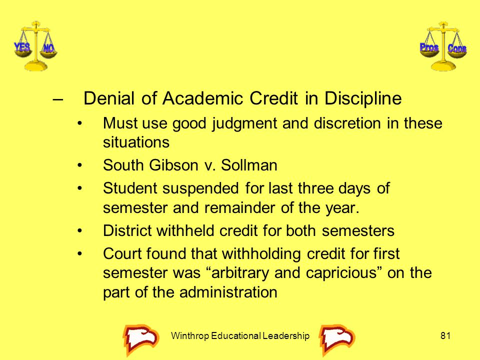 Winthrop Educational Leadership81 –Denial of Academic Credit in Discipline Must use good judgment and discretion in these situations South Gibson v. S