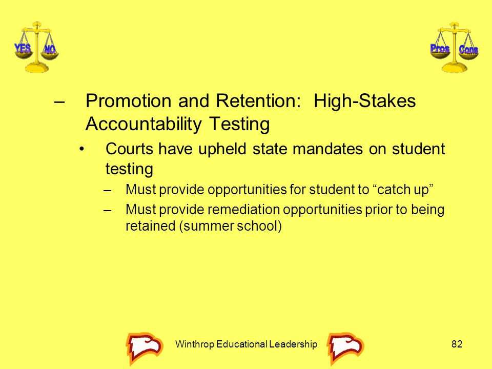 Winthrop Educational Leadership82 –Promotion and Retention: High-Stakes Accountability Testing Courts have upheld state mandates on student testing –M