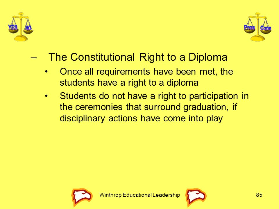 Winthrop Educational Leadership85 –The Constitutional Right to a Diploma Once all requirements have been met, the students have a right to a diploma S