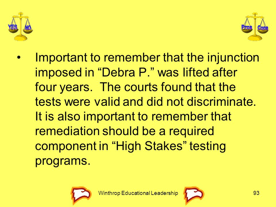 """Winthrop Educational Leadership93 Important to remember that the injunction imposed in """"Debra P."""" was lifted after four years. The courts found that t"""