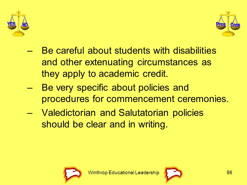 Winthrop Educational Leadership96 –Be careful about students with disabilities and other extenuating circumstances as they apply to academic credit. –