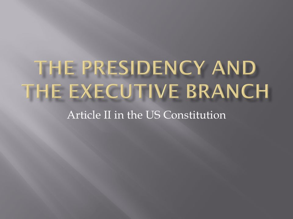 Article II in the US Constitution