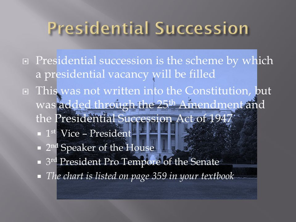  Presidential succession is the scheme by which a presidential vacancy will be filled  This was not written into the Constitution, but was added thr