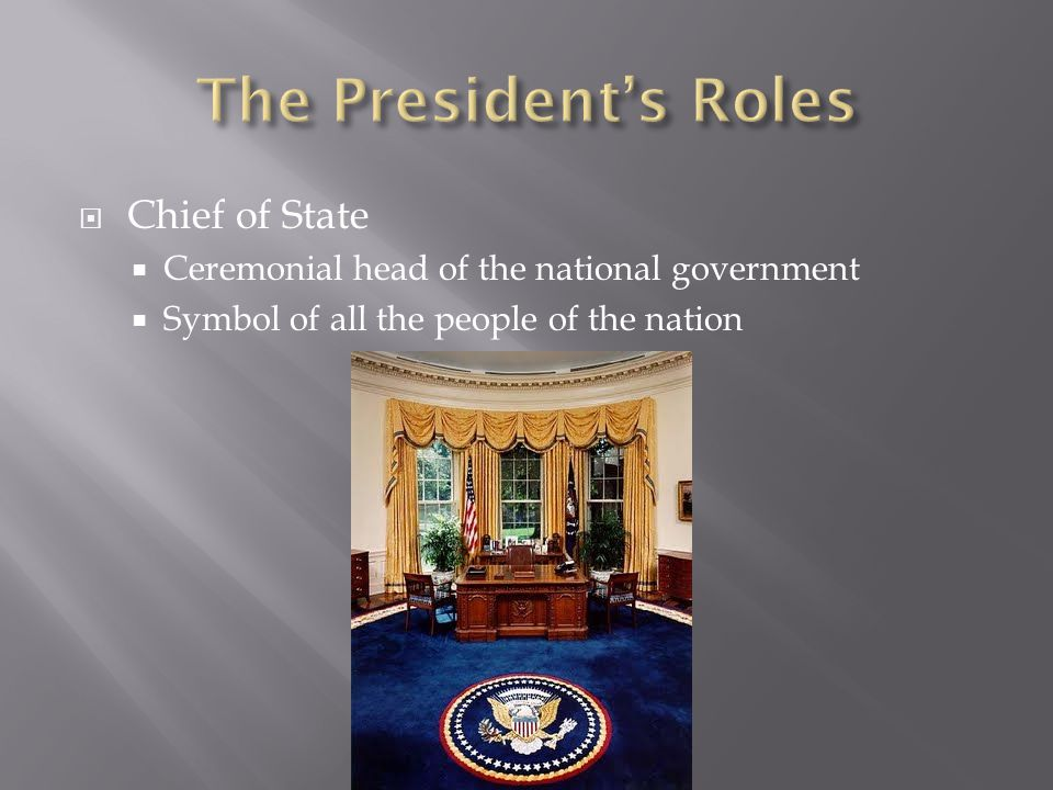 Chief of State  Ceremonial head of the national government  Symbol of all the people of the nation