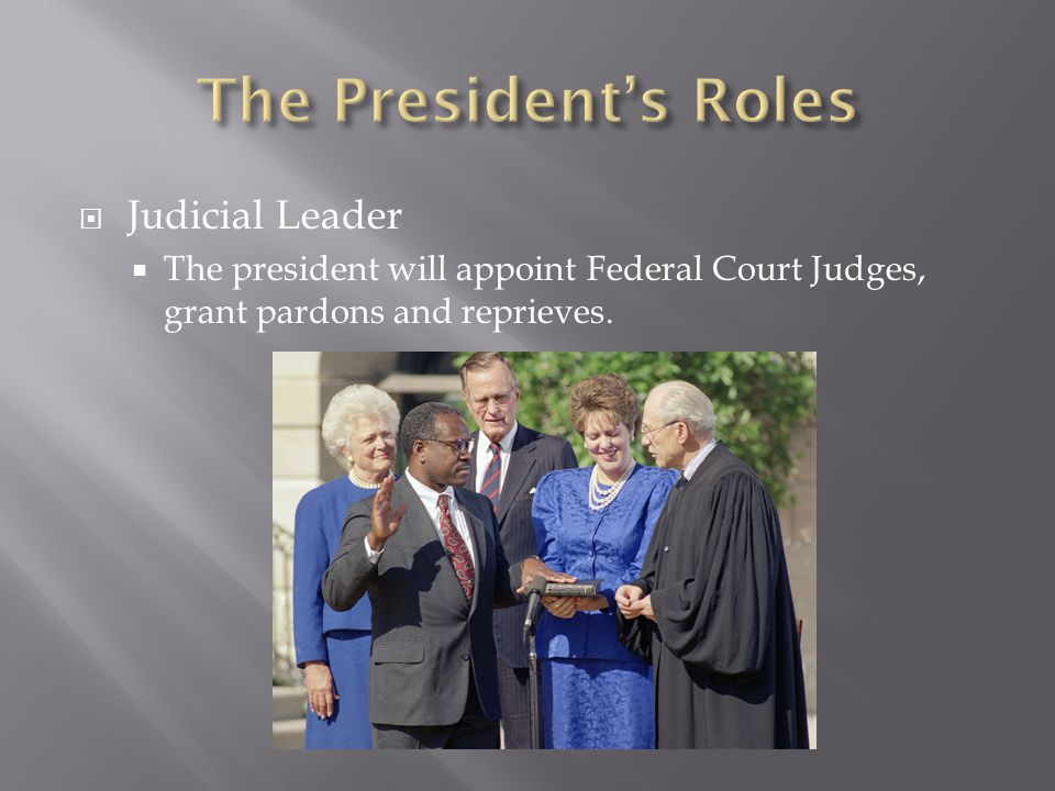  Judicial Leader  The president will appoint Federal Court Judges, grant pardons and reprieves.