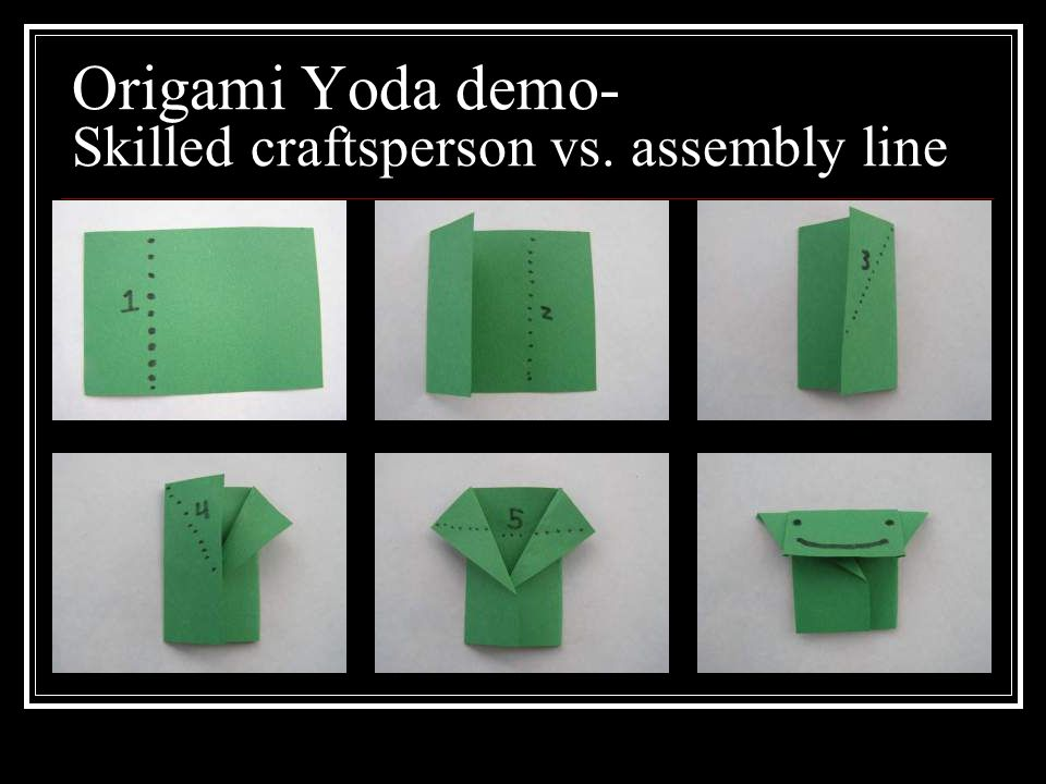 Origami Yoda demo- Skilled craftsperson vs. assembly line