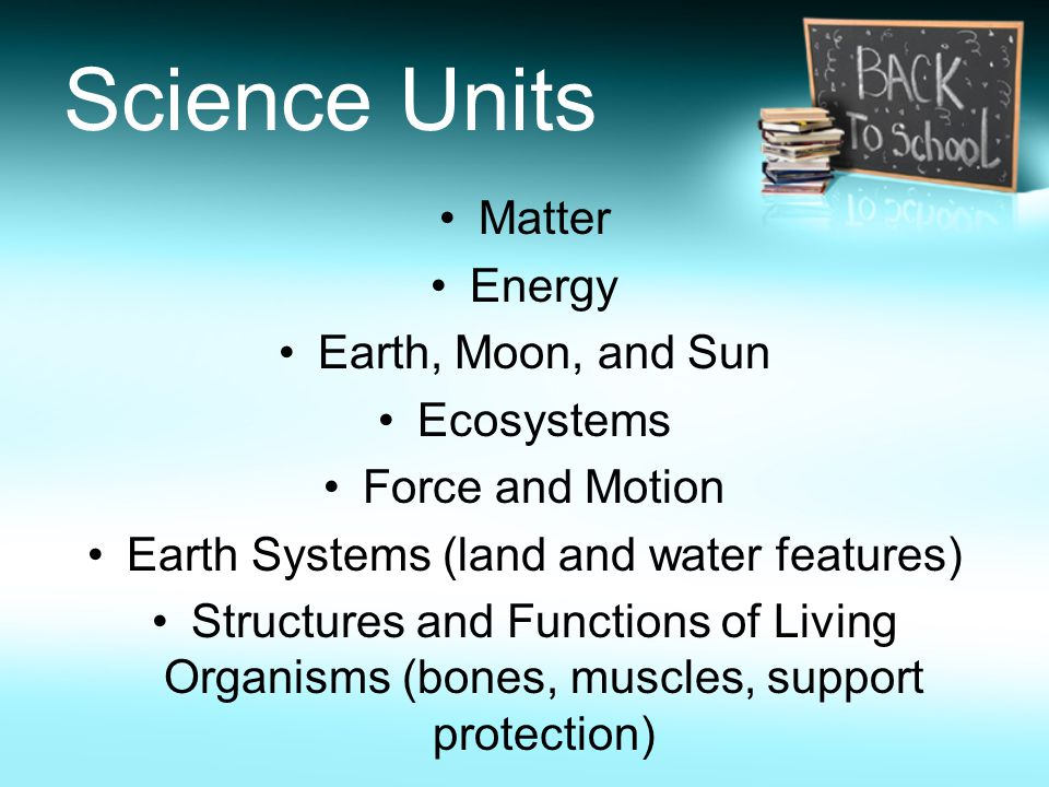 Science Units Matter Energy Earth, Moon, and Sun Ecosystems Force and Motion Earth Systems (land and water features) Structures and Functions of Living Organisms (bones, muscles, support protection)