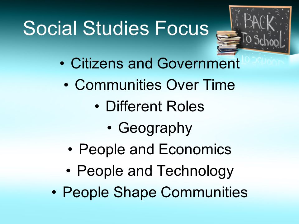 Social Studies Focus Citizens and Government Communities Over Time Different Roles Geography People and Economics People and Technology People Shape Communities