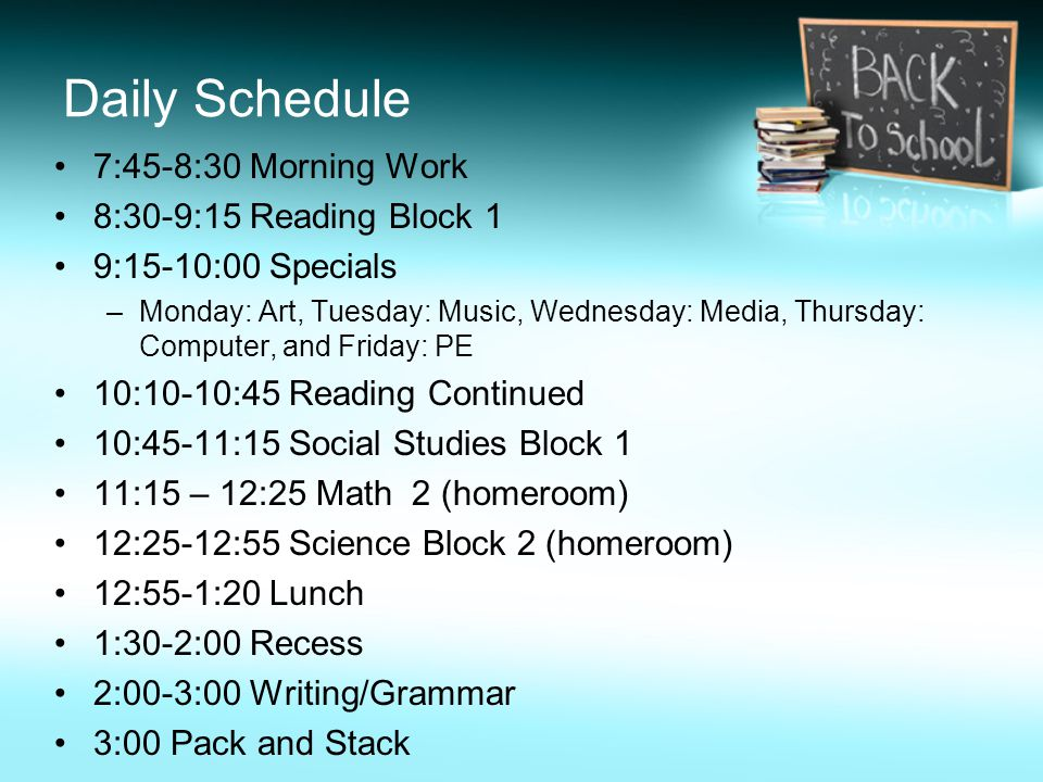 Daily Schedule 7:45-8:30 Morning Work 8:30-9:15 Reading Block 1 9:15-10:00 Specials –Monday: Art, Tuesday: Music, Wednesday: Media, Thursday: Computer, and Friday: PE 10:10-10:45 Reading Continued 10:45-11:15 Social Studies Block 1 11:15 – 12:25 Math 2 (homeroom) 12:25-12:55 Science Block 2 (homeroom) 12:55-1:20 Lunch 1:30-2:00 Recess 2:00-3:00 Writing/Grammar 3:00 Pack and Stack