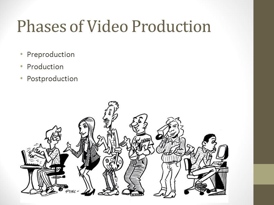 Phases of Video Production Preproduction Production Postproduction