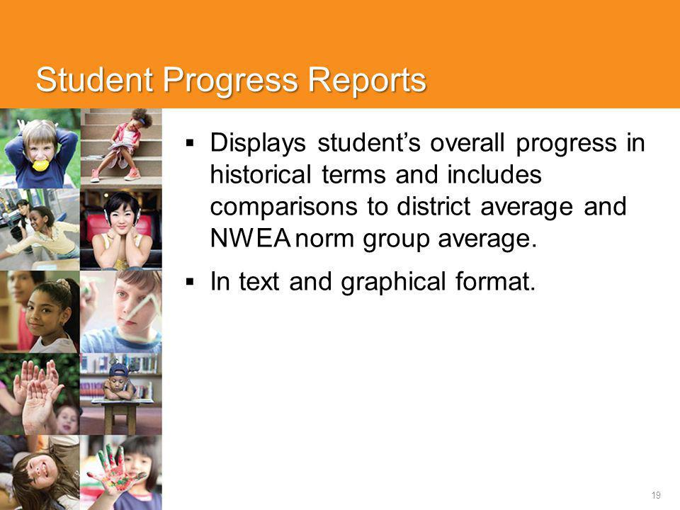 19 Student Progress Reports  Displays student's overall progress in historical terms and includes comparisons to district average and NWEA norm group average.