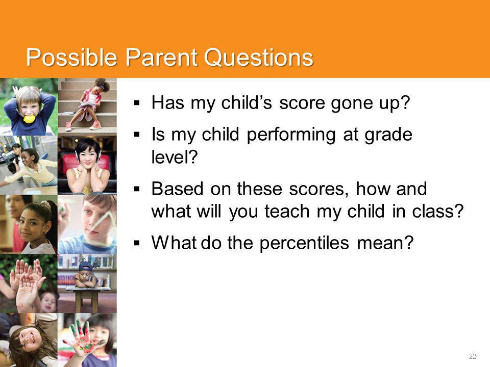 22 Possible Parent Questions  Has my child's score gone up?  Is my child performing at grade level?  Based on these scores, how and what will you t