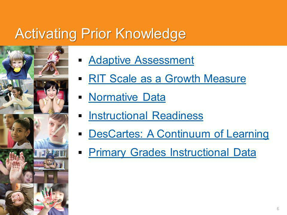 6 Activating Prior Knowledge  Adaptive Assessment Adaptive Assessment  RIT Scale as a Growth Measure RIT Scale as a Growth Measure  Normative Data Normative Data  Instructional Readiness Instructional Readiness  DesCartes: A Continuum of Learning DesCartes: A Continuum of Learning  Primary Grades Instructional Data Primary Grades Instructional Data