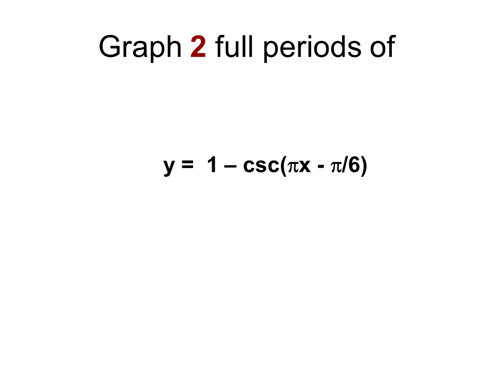 Graph 2 full periods of y = 1 – csc(  x -  /6)
