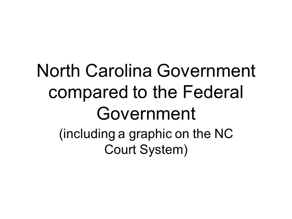 North Carolina Government compared to the Federal Government (including a graphic on the NC Court System)