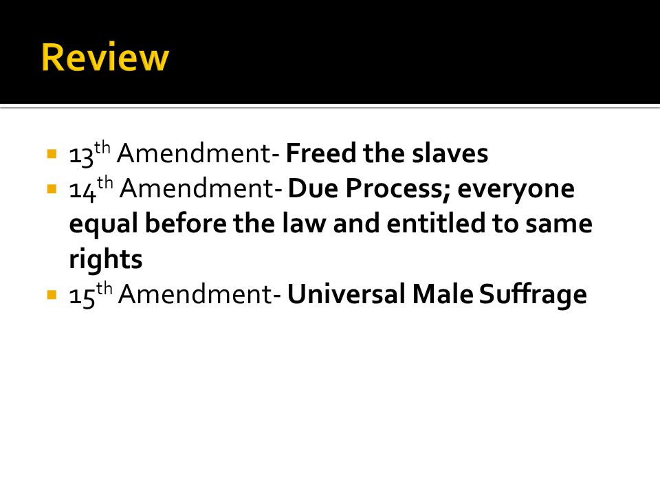  De Jure- segregation based on law  De Facto- segregation based on tradition (social and economic factors- not laws)  Disenfranchisement- deny a certain group the right to vote  KKK and lynchings will be a means to keep blacks from voting  Jim Crow Laws- laws preventing former slaves from doing certain things