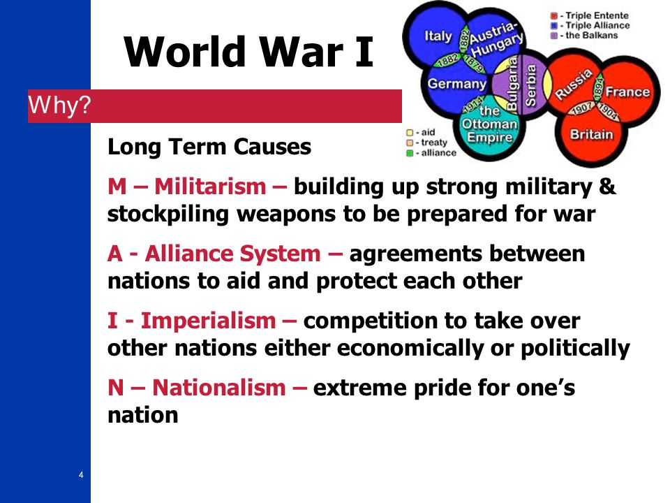 4 World War I Why? Long Term Causes M – Militarism – building up strong military & stockpiling weapons to be prepared for war A - Alliance System – ag