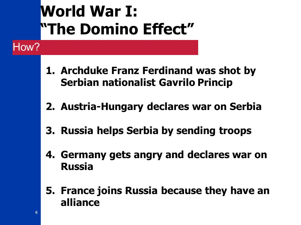 "6 World War I: ""The Domino Effect"" How? 1.Archduke Franz Ferdinand was shot by Serbian nationalist Gavrilo Princip 2.Austria-Hungary declares war on S"