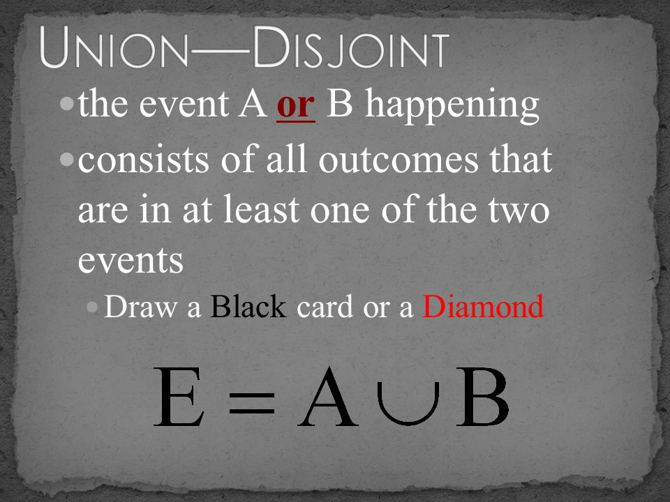 the event A or B happening consists of all outcomes that are in at least one of the two events Draw a Black card or a Diamond