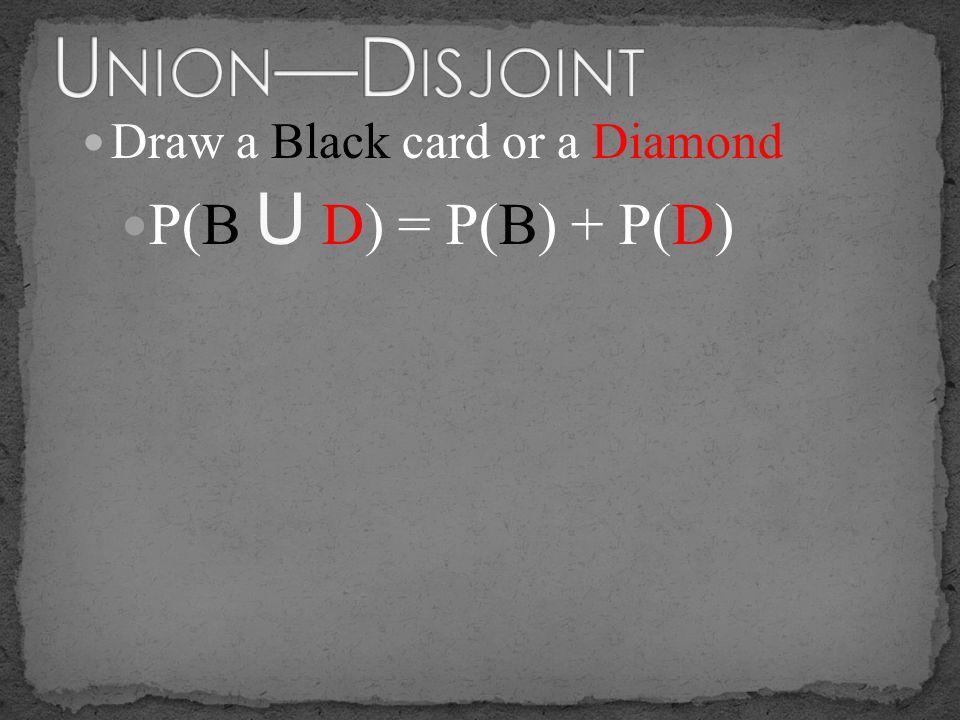 P(B U D) = P(B) + P(D)