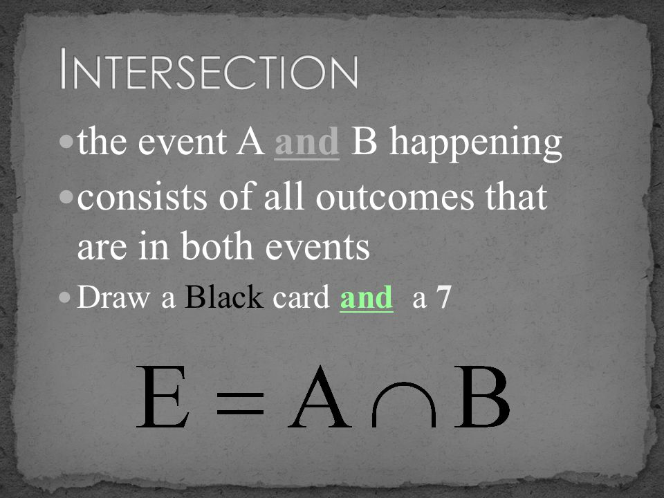 the event A and B happening consists of all outcomes that are in both events Draw a Black card and a 7