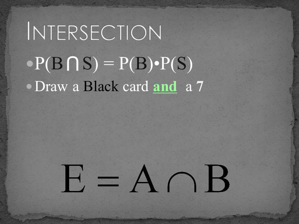 P(B S) = P(B)P(S) Draw a Black card and a 7 U
