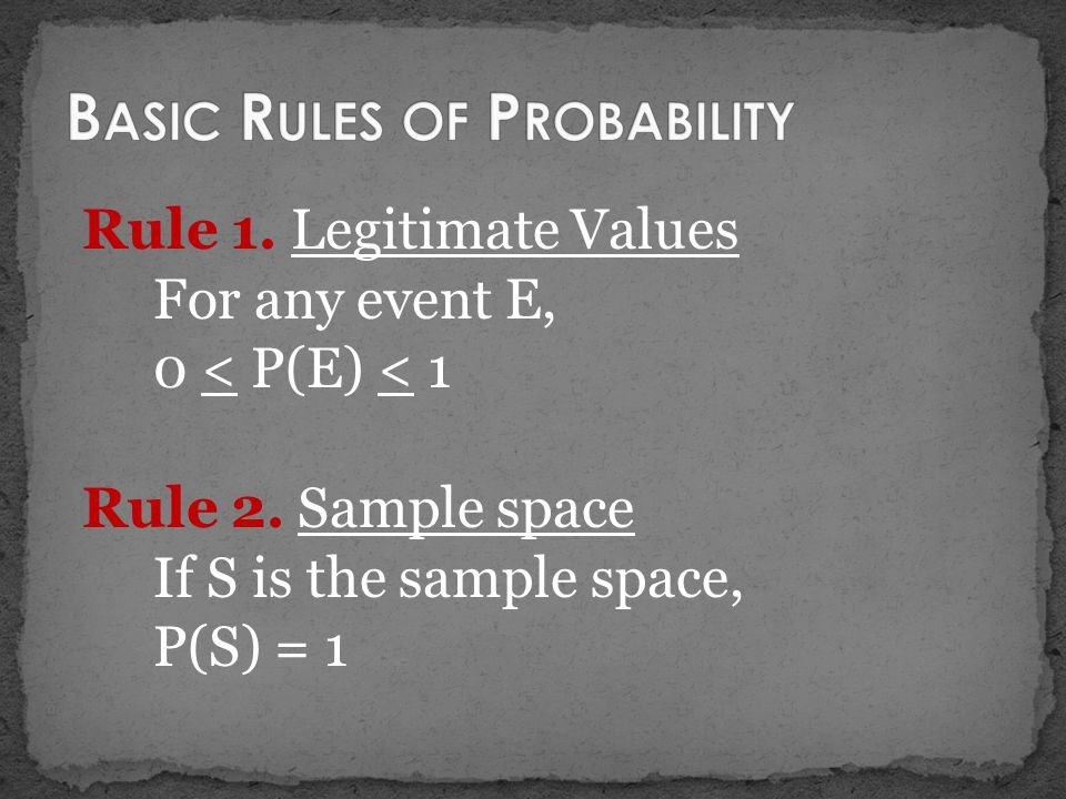 Rule 1. Legitimate Values For any event E, 0 < P(E) < 1 Rule 2. Sample space If S is the sample space, P(S) = 1