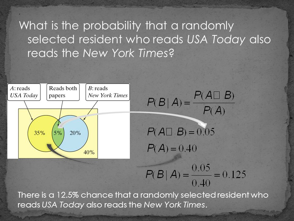 .What is the probability that a randomly selected resident who reads USA Today also reads the New York Times ? There is a 12.5% chance that a randomly