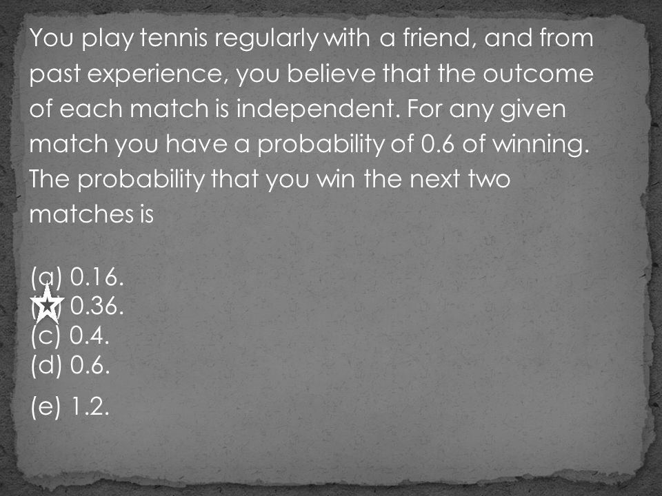 You play tennis regularly with a friend, and from past experience, you believe that the outcome of each match is independent. For any given match you