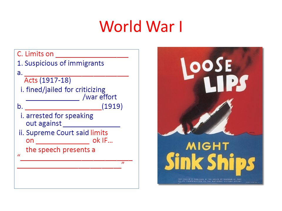World War I C. Limits on ___________________ 1. Suspicious of immigrants a.