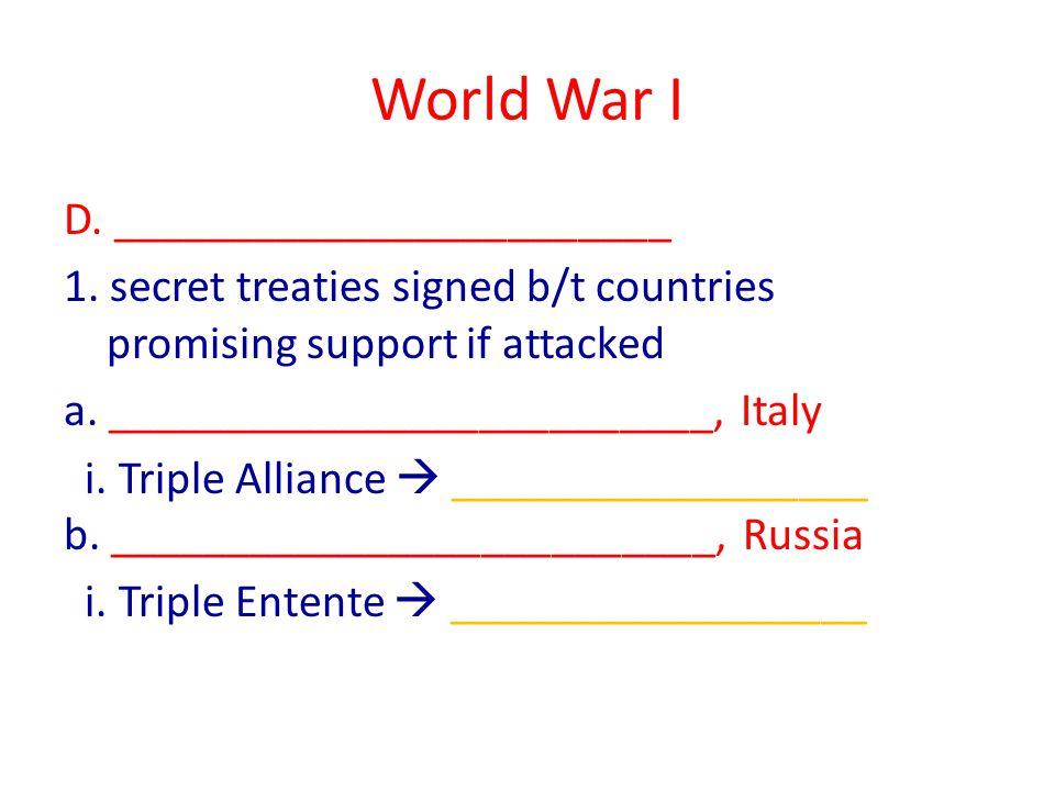 World War I II.________________ Cause ( the spark ) A.