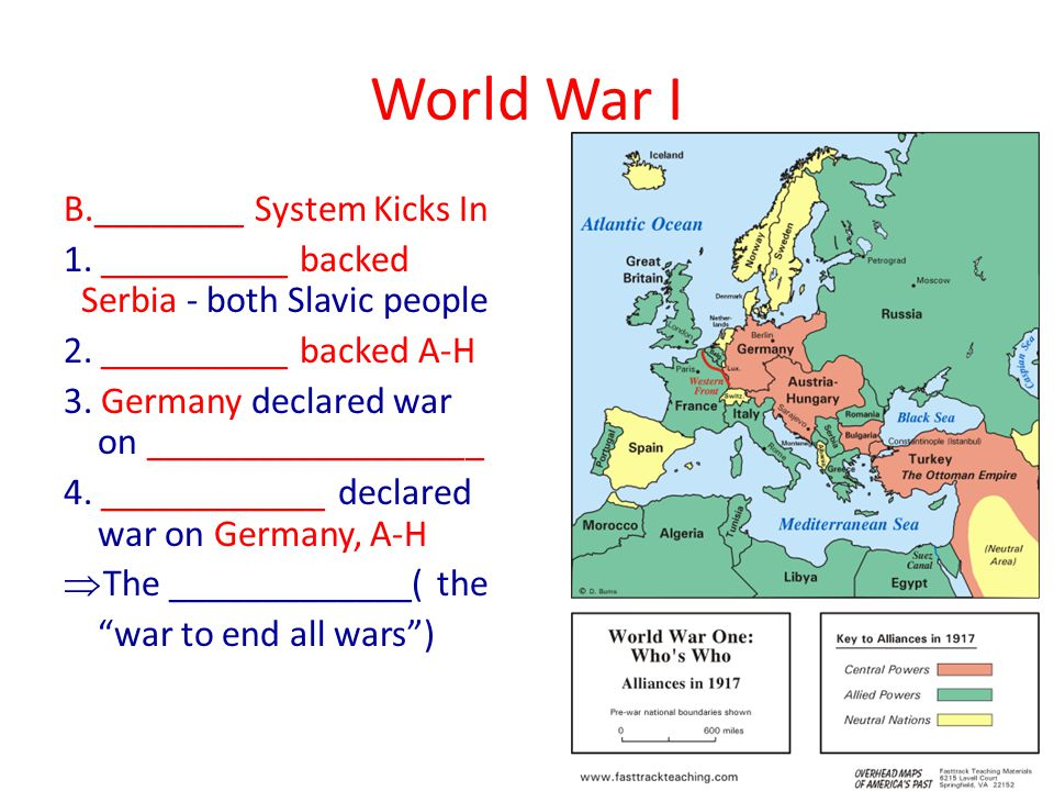 World War I B.________ System Kicks In 1. __________ backed Serbia - both Slavic people 2.