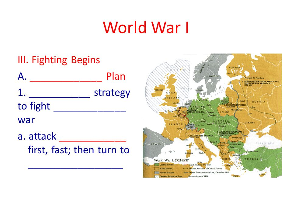 World War I VII.War at ____________ The _____________ had control of all aspects of the war A.