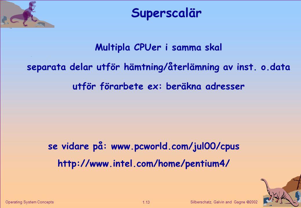 Silberschatz, Galvin and Gagne  2002 1.13 Operating System Concepts Superscalär Multipla CPUer i samma skal separata delar utför hämtning/återlämning