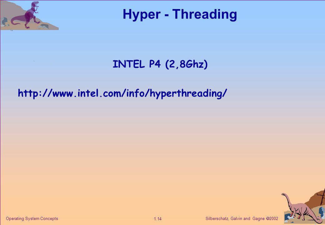 Silberschatz, Galvin and Gagne  2002 1.14 Operating System Concepts Hyper - Threading INTEL P4 (2,8Ghz) http://www.intel.com/info/hyperthreading/