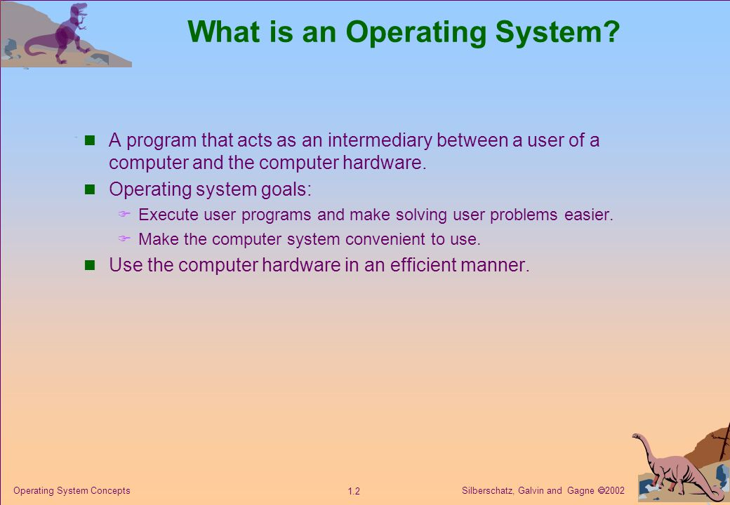 Silberschatz, Galvin and Gagne  2002 1.3 Operating System Concepts Computer System Components 1.Hardware – provides basic computing resources (CPU, memory, I/O devices).