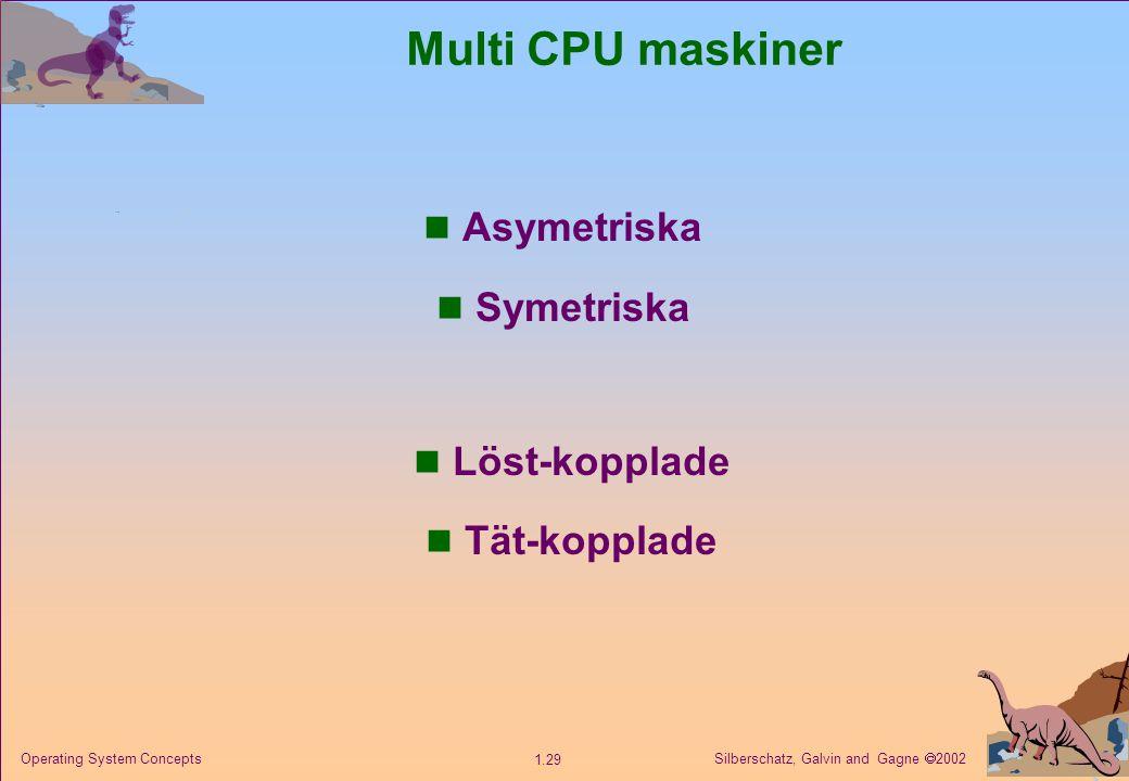 Silberschatz, Galvin and Gagne  2002 1.29 Operating System Concepts Multi CPU maskiner n Asymetriska n Symetriska n Löst-kopplade n Tät-kopplade