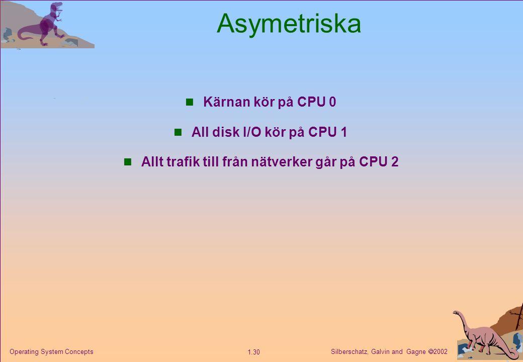 Silberschatz, Galvin and Gagne  2002 1.30 Operating System Concepts Asymetriska n Kärnan kör på CPU 0 n All disk I/O kör på CPU 1 n Allt trafik till från nätverker går på CPU 2