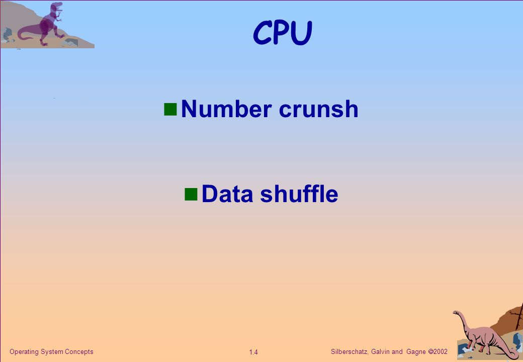 Silberschatz, Galvin and Gagne  2002 1.25 Operating System Concepts Parallel Systems Multiprocessor systems with more than on CPU in close communication.