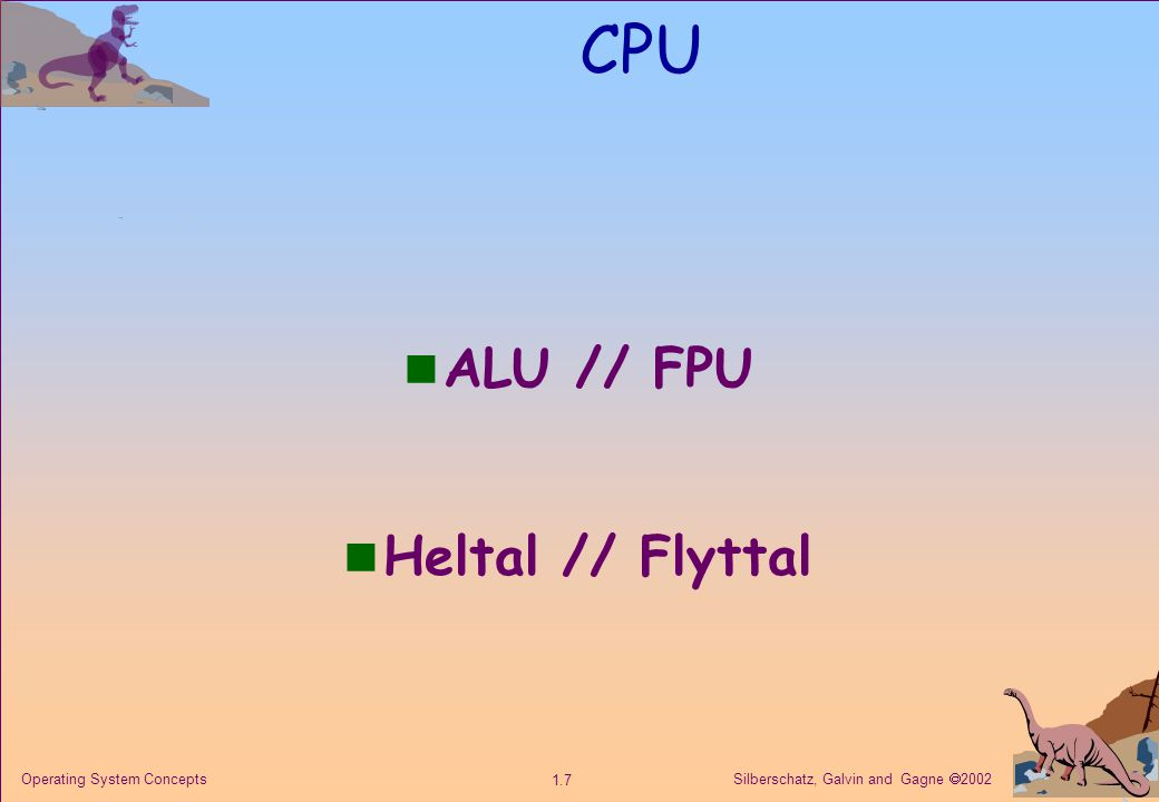 Silberschatz, Galvin and Gagne  2002 1.28 Operating System Concepts Multi CPU maskiner Multiprocessing betyder att olika processer kan processas simultant.