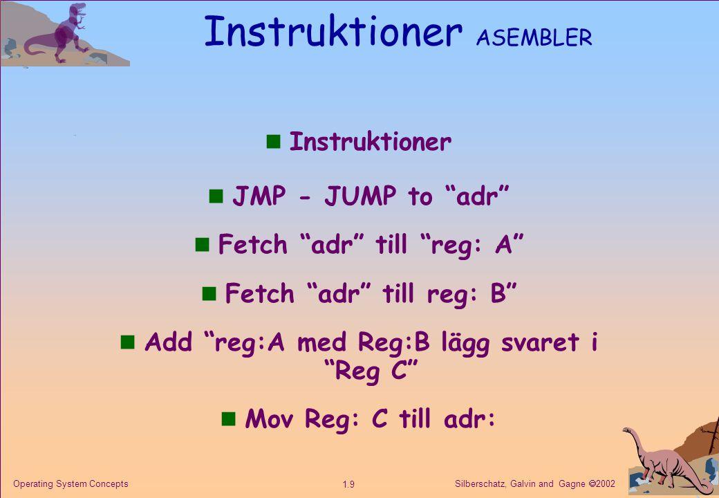 Silberschatz, Galvin and Gagne  2002 1.9 Operating System Concepts Instruktioner ASEMBLER n Instruktioner n JMP - JUMP to adr n Fetch adr till reg: A n Fetch adr till reg: B n Add reg:A med Reg:B lägg svaret i Reg C n Mov Reg: C till adr: