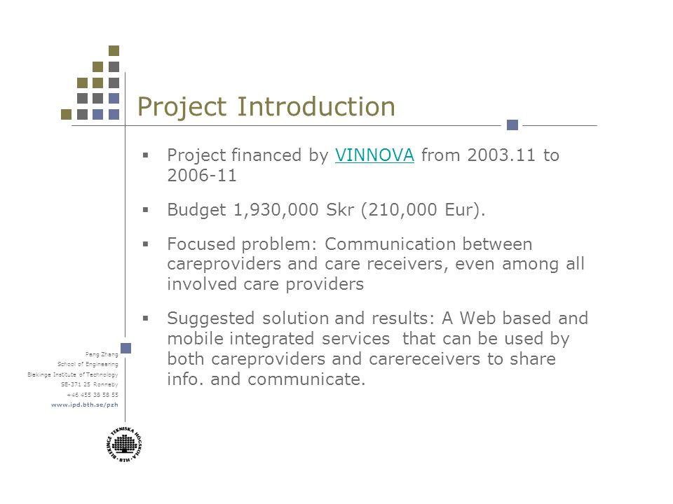 Peng Zhang School of Engineering Blekinge Institute of Technology SE-371 25 Ronneby +46 455 38 58 55 www.ipd.bth.se/pzh Mobile version – Info.
