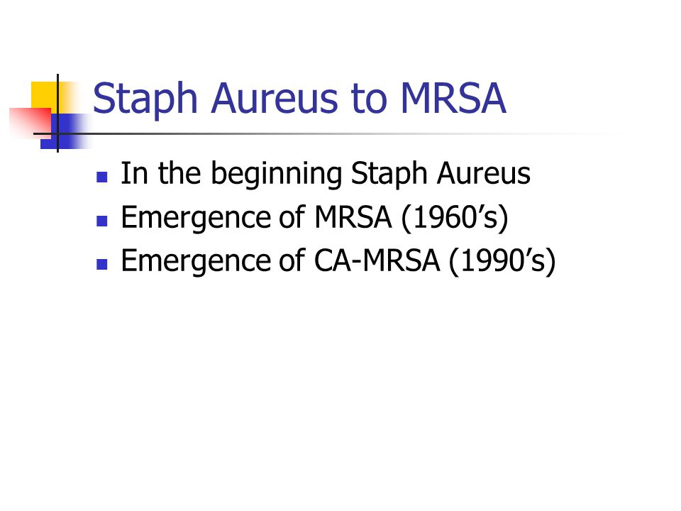 Staph Aureus to MRSA In the beginning Staph Aureus Emergence of MRSA (1960's) Emergence of CA-MRSA (1990's)