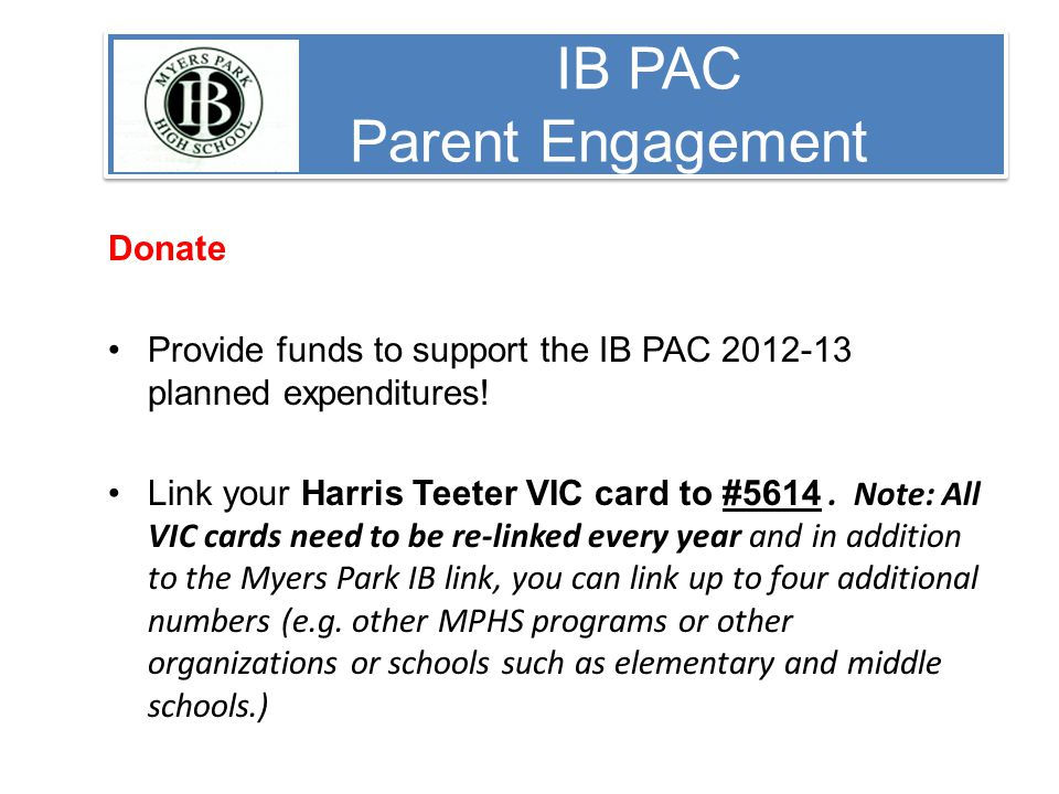 IB PAC Parent Engagement Donate Provide funds to support the IB PAC planned expenditures.