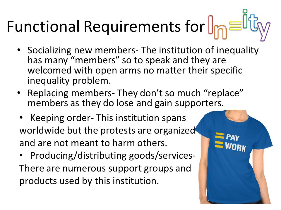 Functional Requirements for hfjshfddd Socializing new members- The institution of inequality has many members so to speak and they are welcomed with open arms no matter their specific inequality problem.