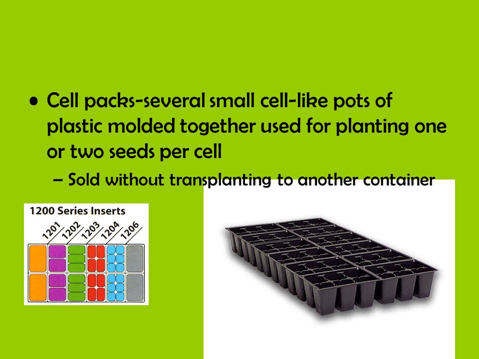 Cell packs-several small cell-like pots of plastic molded together used for planting one or two seeds per cell –Sold without transplanting to another container