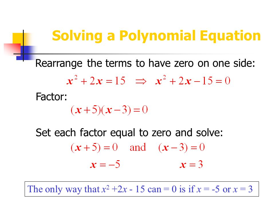Solving a Polynomial Equation The only way that x 2 +2x - 15 can = 0 is if x = -5 or x = 3 Rearrange the terms to have zero on one side: Factor: Set each factor equal to zero and solve: